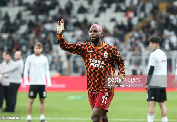 Galatasaray's Babel greets fans ahead of the Turkish Super Lig week 9 soccer match between Besiktas and Galatasaray at the Vodafone Park in Istanbul,...