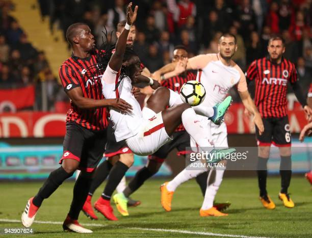Galatasaray's Bafetimbi Gomis controls the ball during the Turkish Super Lig football match between Genclerbirligi and Galatasaray on April 9 at the...