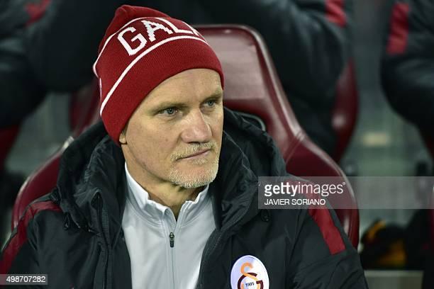 Galatasaray's Brazilian coach Claudio Taffarel looks on before the UEFA Champions League Group C football match Club Atletico de Madrid vs...