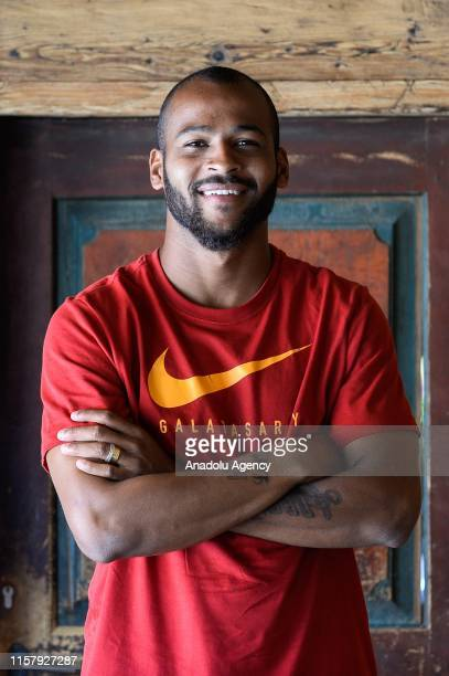 Galatasaray's Brazilian defender Marcao poses for a photo during an exclusive interview within summer camp as part of the Turkish Super Lig new...