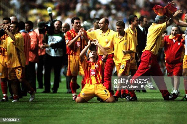 Galatasaray's Bulent Korkmaz celebrates winning the UEFA Super Cup