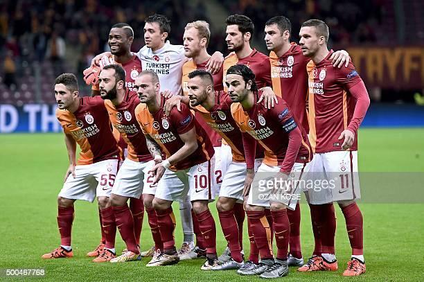Galatasaray's Cameroonian defender Aurelien Chedjou Uruguayan goalkeeper Fernando Muslera Turkish defender Semih Kaya Turkish defender Hakan Balta...