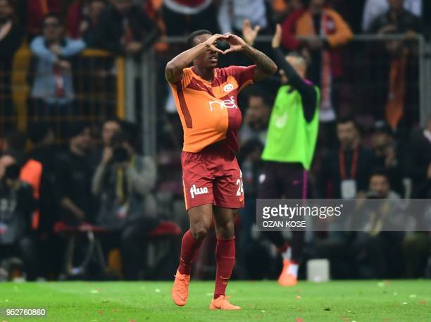 Galatasaray's Cape Verdean forward Gary Rodrigues gestures after scoring a goal during the Turkish Spor Toto Super league football match between...