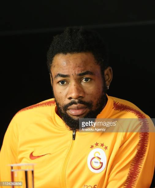 Galatasaray's Christian Luyindama attends a signing ceremony of Galatasaray's new transfers at Turk Telekom Stadium in Istanbul Turkey on February 12...