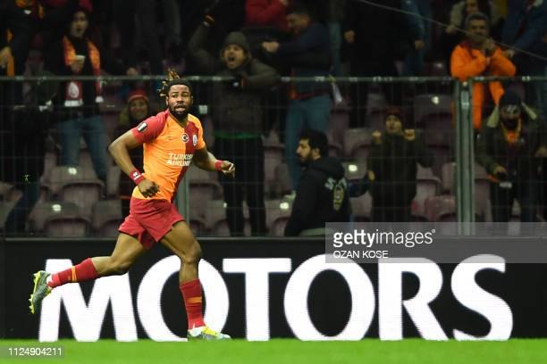 Galatasaray's Congolese defender Christian Luyindama celebrates after scoring a goal during the UEFA Europa League round of 32 first leg football...