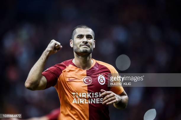 Galatasaray's Eren Derdiyok celebrates after scoring a goal during the Champions League group C football match between Red Star Belgrade and Napoli...