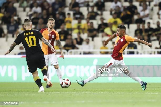 Galatasaray's Fernando Reges in action against Marko Livaja of AEK Athens during friendly football game between AEK Athens and Galatasaray in OAKA...