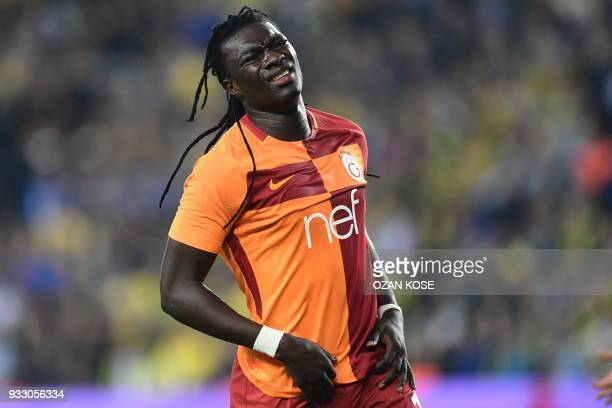 Galatasaray's forward Bafetimbi Gomis reacts during Turkish Spor Toto Super league fotball match between Fenerbahce and Galatasaray on March 17, 2018...
