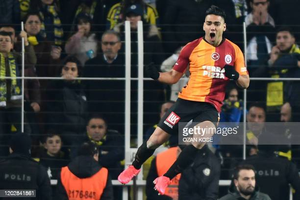 Galatasaray's forward Radamel Falcao celebrates after scoring a goal during the Turkish Super league football match between Fenerbahce and...