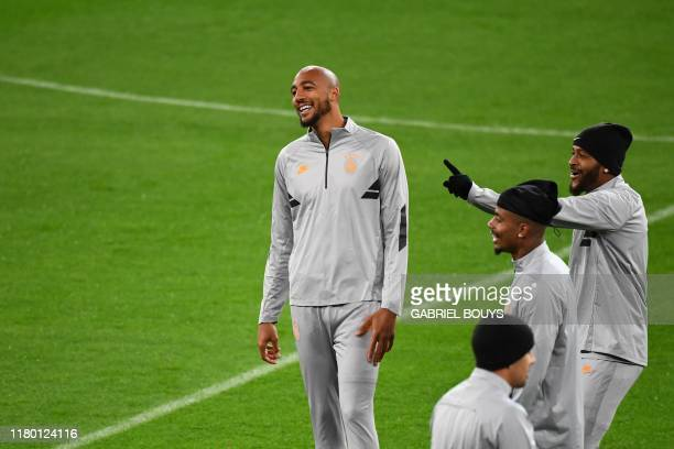 Galatasaray's French midfielder Steven N'Zonzi takes part in a training session at the Santiago Bernabeu stadium in Madrid on November 5 2019 on the...