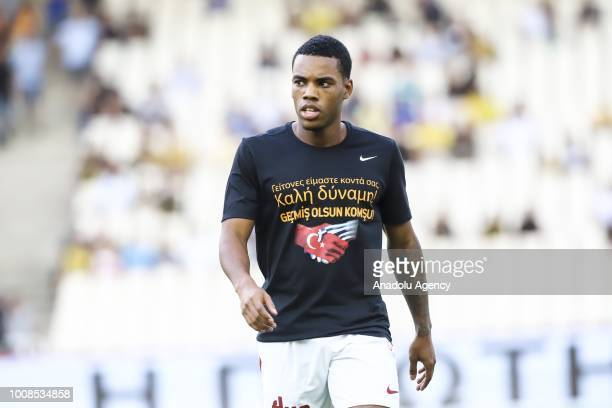 Galatasaray's Garry Mendes Rodrigues wearing jersey with slogan in memory of the deaths caused from the deadly fires in Attica Greece is seen before...