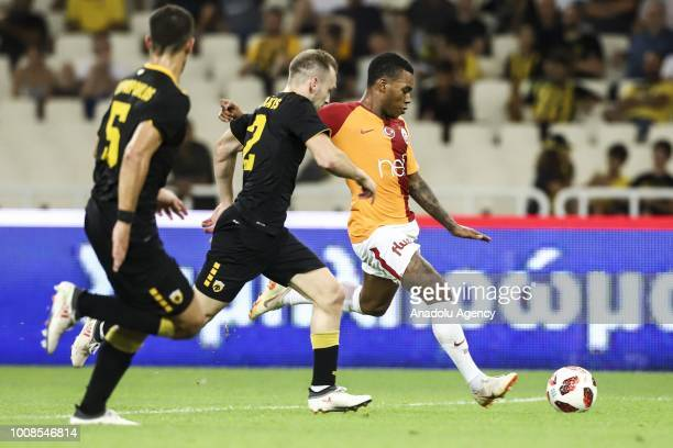 Galatasaray's Garry Rodrigues and Michalis Bakakis of AEK Athens during friendly football game between AEK Athens and Galatasaray in OAKA Stadium in...