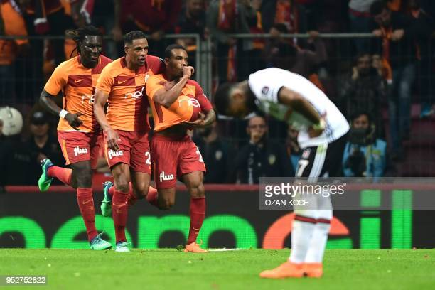 Galatasaray's Garry Rodrigues celebrates with his teammates after scoring a goal during Turkish Spor Toto Super league fotball match between...