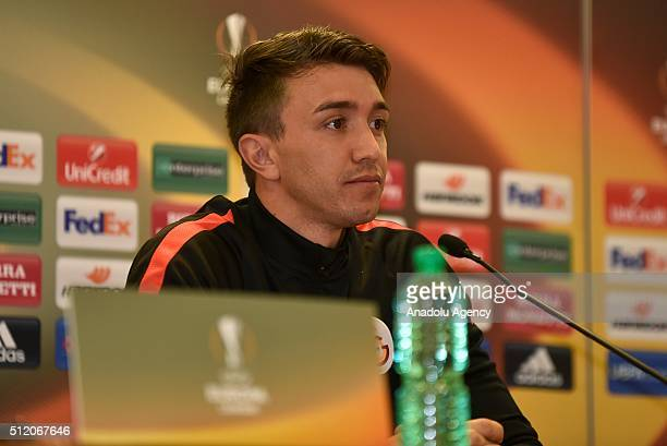 Galatasaray's goalkeeper Fernanondo Muslera is seen during a media conference at Stadio Olimpico in Rome, Italy on February 24 ahead of the UEFA...
