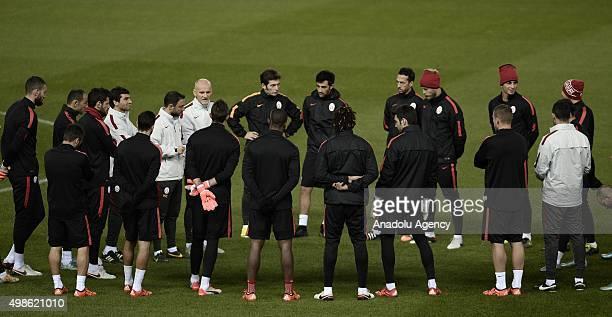 Galatasaray's goalkeeping coach Claudio Taffarel participates the training session at Vicente Calderon Stadium in Madrid Spain on November 24 2015...