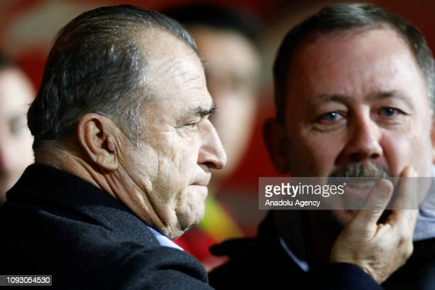 Galatasaray's Head Coach Fatih Terim and Alanyaspor's Head Coach Sergen Yalcin are seen before the Turkish Super Lig soccer match between Aytemiz...