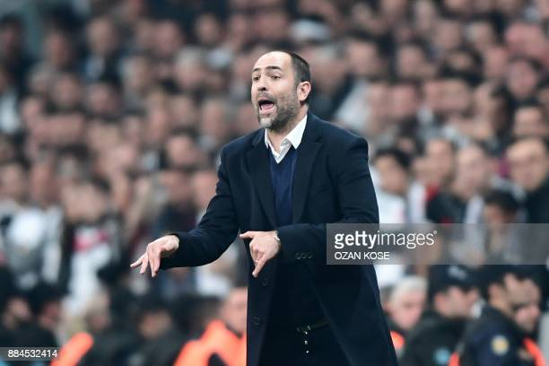 Galatasaray's head coach Igor Tudor gestures during the Turkish Super Lig football match between Besiktas and Galatasaray on December 2 2017 at...