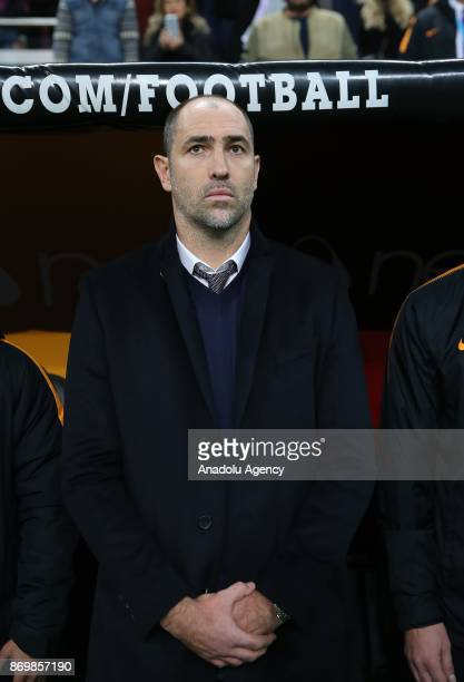 Galatasaray's head coach Igor Tudor is seen during the anthem singing ceremony prior to the Turkish Super Lig match between Galatasaray and...