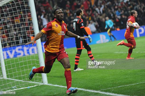 Galatasaray's Ivorian forward Didier Drogba celebrates after his goal during the UEFA Champions League quarterfinal second leg football match...