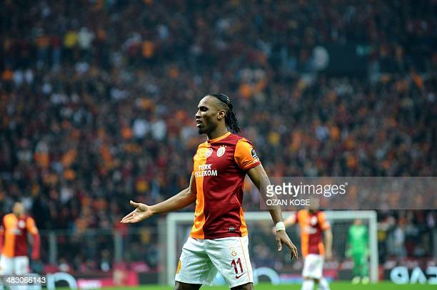 Galatasaray's Ivorian striker Didier Drogba reacts during the Turkish Super League football match between Galatasaray and Fenerbahce at the Turk...