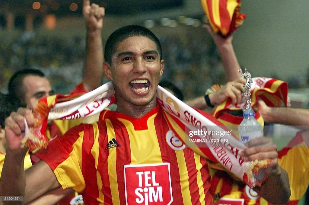 Galatasaray's Mario Jardel, who scored twice for h : News Photo