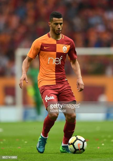 Galatasaray's Moroccan midfielder Younes Belhanda controls the ball during the Turkish Spor Toto Super league football match between Galataray and...