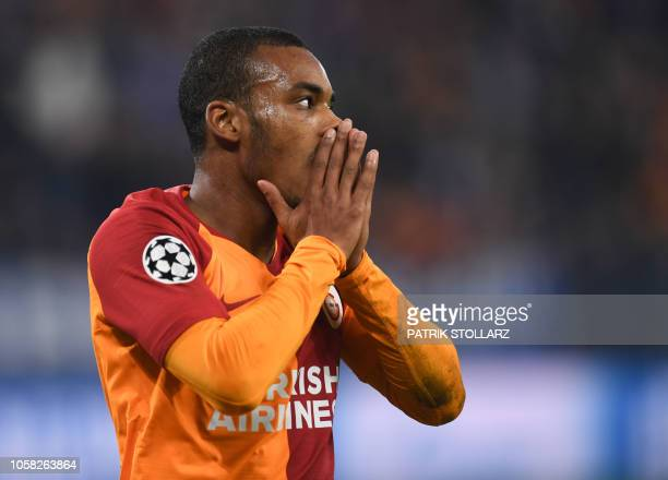 Galatasaray's Moroccan midfielder Younes Belhanda reacts during the UEFA Champions League group D football match FC Schalke 04 v Galatasaray in...