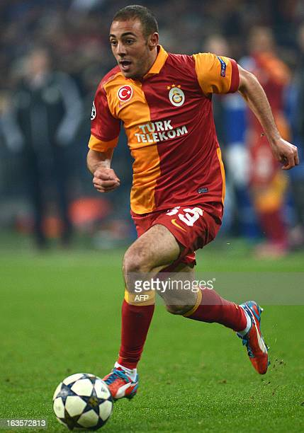 Galatasaray´s Morrocan midfielder Nordin Amrabat vie for the ball during the UEFA Champions League football match between Schalke 04 and Galatasaray...