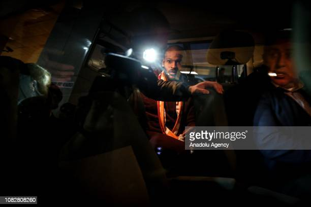 Galatasaray's new transfer Marcos Do Nascimento Teixeira is seen in a vehicle as he arrives in Istanbul Turkey on January 15 2019