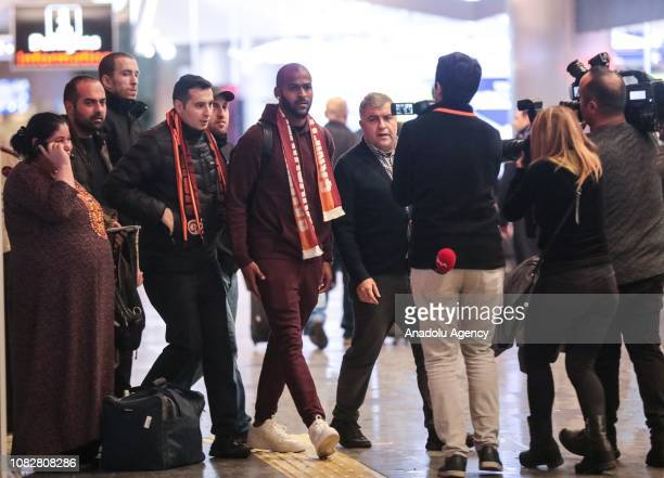 Galatasaray's new transfer Marcos Do Nascimento Teixeira is welcomed at airport as he arrives in Istanbul Turkey on January 15 2019