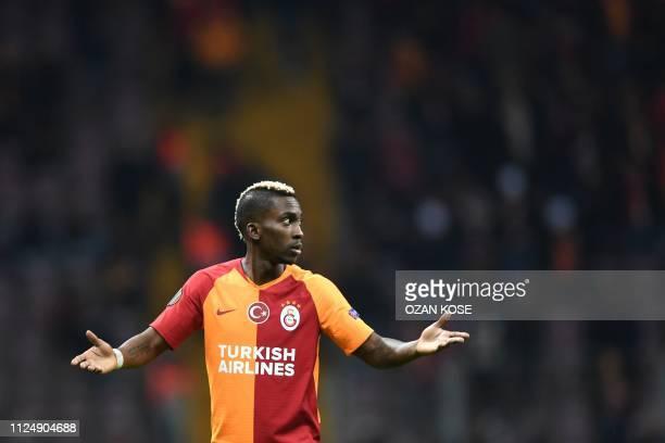 Galatasaray's Nigerian forward Henry Onyekuru reacts during the UEFA Europa League round of 32 first leg football match between Galatasaray and...