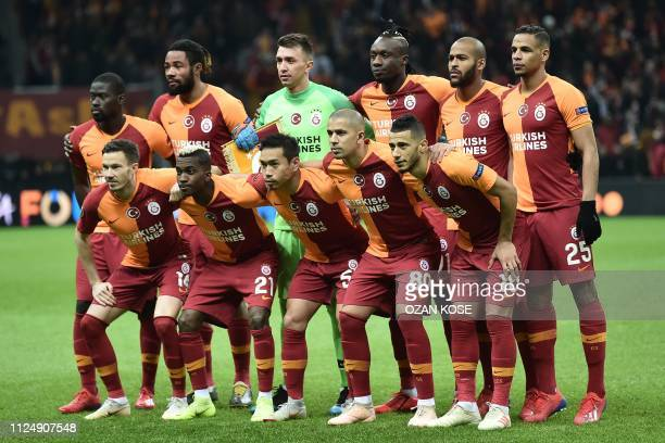 Galatasaray's players pose for a team picture prior to the UEFA Europa League round of 32 first leg football match between Galatasaray and Benfica at...