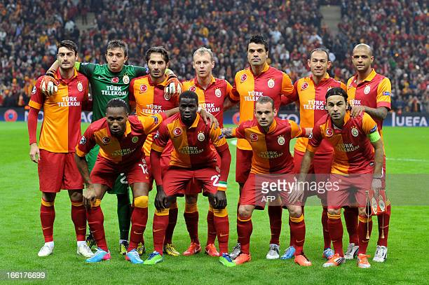 Galatasaray's players pose for picture before the start of the UEFA Champions League quarterfinal second leg football match Galatasaray vs Real...