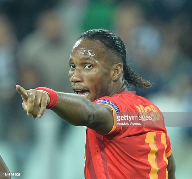 Galatasaray's striker Didier Drogba celebrates after scoring a goal during the UEFA Champions League group B soccer match between Juventus and...