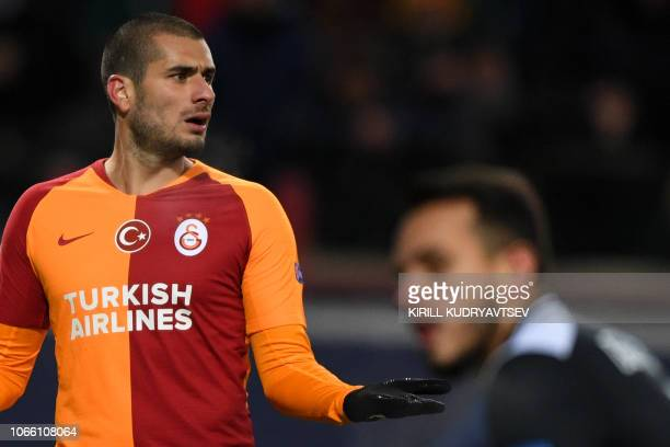Galatasaray's Swiss forward Eren Derdiyok reacts during the UEFA Champions League group D football match between FC Lokomotiv Moscow and Galatasaray...