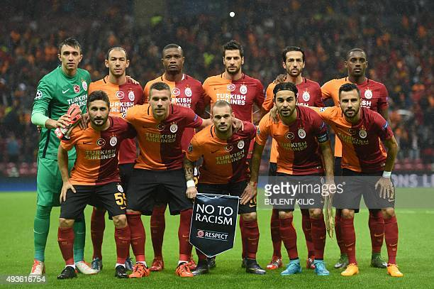 Galatasaray's Uruguayan goalkeeper Fernando Muslera Galatasaray's forward Umut Bulut Galatasaray's defender from Cameroon Aurelien Chedjou...
