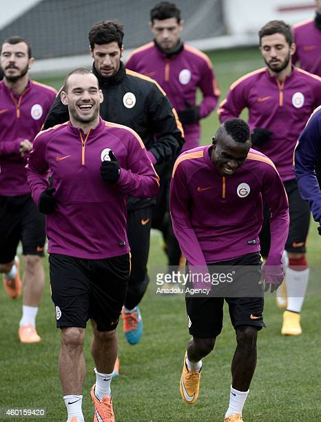 Galatasaray's Wesley Sneijder and Bruma take part in a training session at Metin Oktay Facilities a day before the UEFA Champions League Group D...