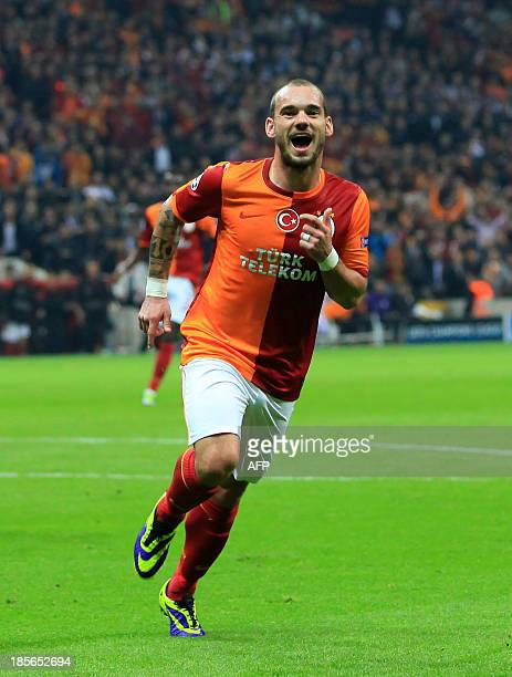 Galatasaray's Wesley Sneijder celebrates scoring a goal during the UEFA Champions League Group B football match between Galatasaray and FC Copenhagen...