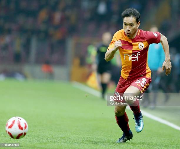 Galatasaray's Yuto Nagatomo chases the ball during the second half of a Turkish domestic cup match against Konyaspor in Istanbul on Feb 8 2018...