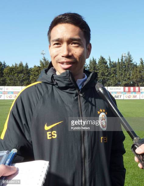 Galatasaray's Yuto Nagatomo of Japan answers questions from reporters after a training session in Istanbul on Feb 9 2018 ==Kyodo