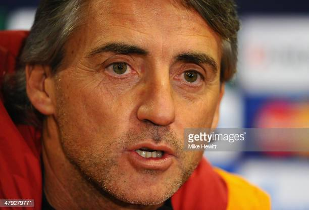 Galatasary coach Roberto Mancini faces the media during a Galatasaray Press Conference at Stamford Bridge on March 17 2014 in London England
