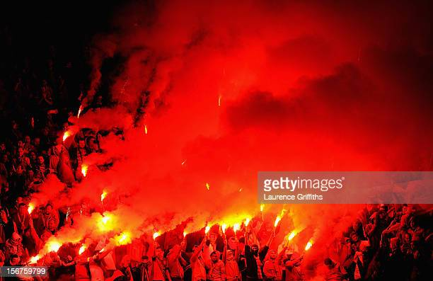 Galatasary fans prior to the UEFA Champions League Group H match between Galatasaray and Manchester United at the Turk Telekom Arena on November 20...