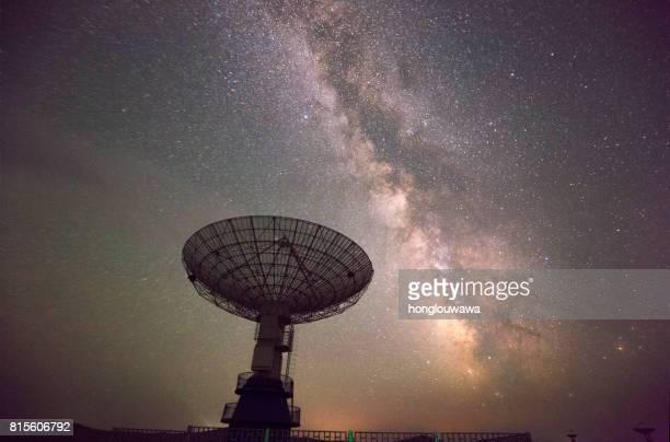 Galaxia y telescopio de radio