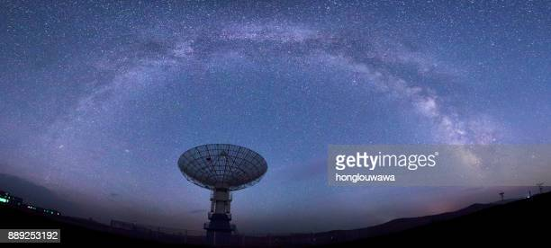 galaxy and radio telescope - receiver stock pictures, royalty-free photos & images