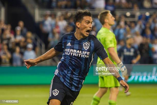 Galaxy Forward Favio Alvarez celebrates after scoring the opening goal during the match between Sporting Kansas City and the LA Galaxy on Wednesday...