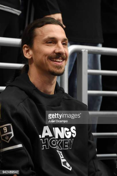 Galaxy forward Zlatan Ibrahimovic attends a game between the Minnesota Wild and the Los Angeles Kings at STAPLES Center on April 5 2018 in Los...