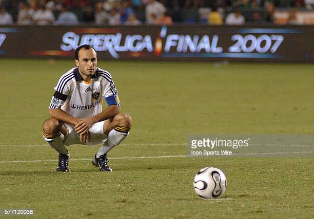 LA Galaxy Landon Donovan prepares for his penalty kick during the SuperLiga final featuring Pachuca against the Los Angeles Galaxy at the Home Depot...