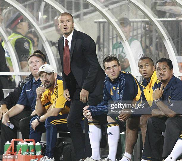 Galaxy midfielder David Beckham awaits the start of the match against the Toronto FC at BMO Field in Toronto, Ontario, Canada on August 5, 2007....
