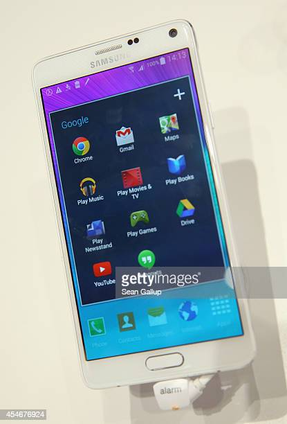 Galaxy Note 4 smartphone lies on display at the Samsung stand at the 2014 IFA home electronics and appliances trade fair on September 5 2014 in...