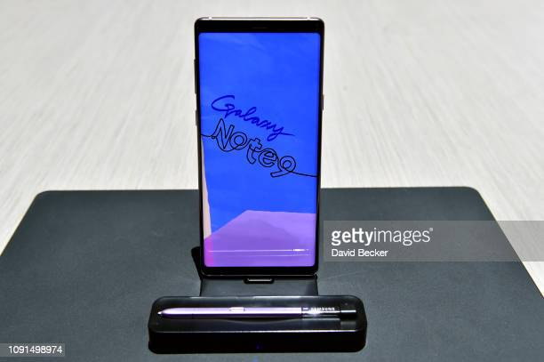 Galaxy Note 9 is displayed at the Samsung booth during CES 2019 at the Las Vegas Convention Center on January 8 2019 in Las Vegas Nevada CES the...
